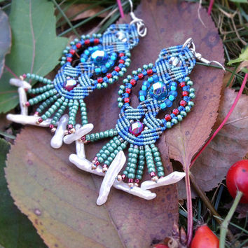 Micro macrame earrings - Blue Teal Green Red Shells Bohemian Unique OOAK Seed beads Fringe