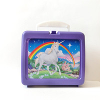 Unicorn Plastic Lunchbox - Thermos Brand 90s Unicorn Lunch Box - Quirky Gift for Friend - Unicorn - Made in the USA