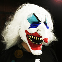 Clown Skull Mask Horror Halloween Masks For Women Men Eyeball Devil Party Wrapped head Scary Mask Long White Hair MJ069