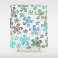 Storied Flowers blue edition Shower Curtain by Sandra Arduini