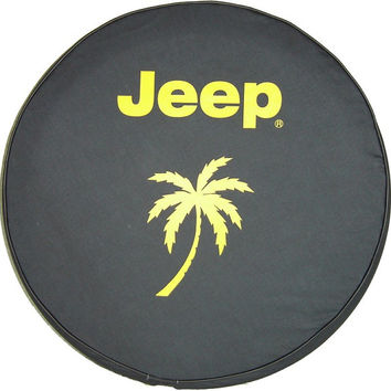 "33"" Heavy denim textured vinyl Jeep Tire Cover - Yellow Jeep Logo with Palm Tree"