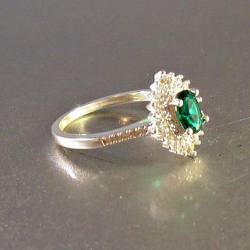 Sterling Halo Engagement Ring, Emerald Quartz Diamond CZ, Size 8.75, Bridal Wedding Jewelry