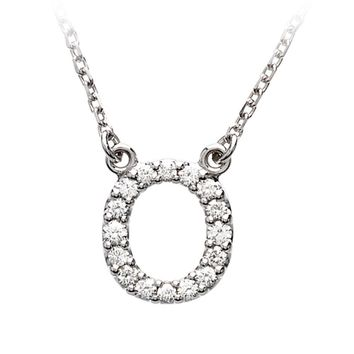1/6 Cttw Diamond & 14k White Gold Block Initial Necklace, Letter O