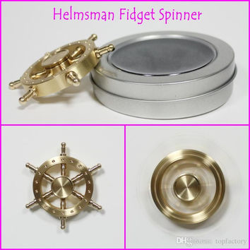 2017 New helmsman style hand spinners with retail box Luxury Copper Brass fidget spinners toys steersman Tri-spinner Six Arm spinners toy