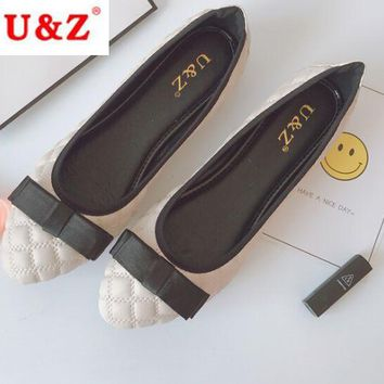 Spring Summer New Lovely lambskin leather satin bow flats shoes,Black/Pink/Beige leather Ribbon ballet flats Loafers Round toe