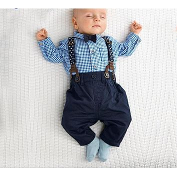 Baby Boy Clothes Autumn Newborn Baby Sets Infant Clothing Suit Plaid Shirt Bow Tie Trousers