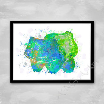Pokemon Go, Bulbasaur, Watercolor art,  Instant download, Digital Print, Room decor, Wall print, RPG game character, Grass/Poison, Pokemon,
