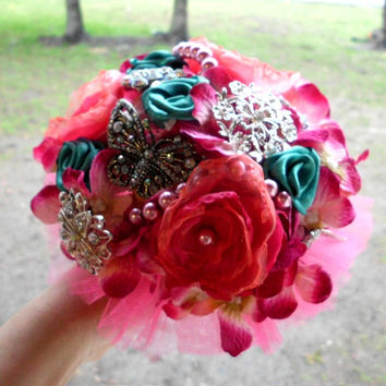 "Wedding Bouquet, Brooch, Deposit, Bridal, Pink, Custom, Vintage, Bridal, 6"", Fabric Flower Bouquet, Weddings, Pink, Turquoise Teal, hot pink"