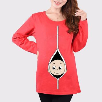 100% Cotton Maternity Pregnant T Shirts Women Long Sleeve Pregnancy Maternity Clothes Baby Peeking Out Funny Maternity Shirts