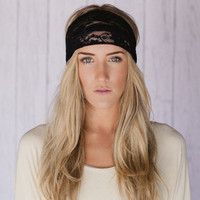 Black Lace Headband Wide Lace Black Headband Shadow Black Stretch Lace Head Wrap Stretchy