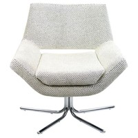 Pre-owned Mod Reupholstered Swivel Chair on Chrome Base