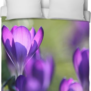 Purple And Green Spring Duvet Cover