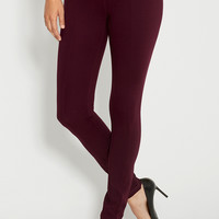 the skinny ponte pant with center seams in harvest wine