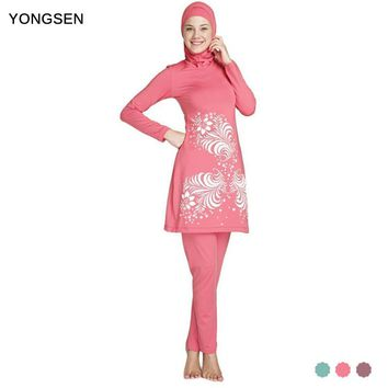 YONGSEN 2017 Muslim Modest Swimwear Islamic Swimsuit For Women Full Coverage Hijab Swimwear Swimming Beachwear