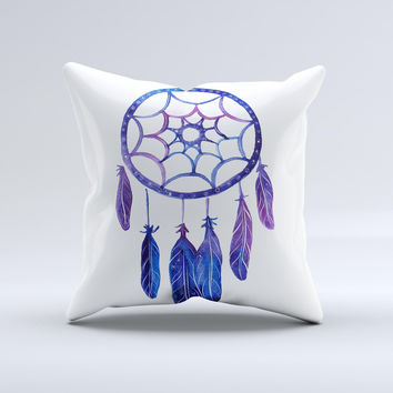 The Blue & Purple Watercolor Dreamcatcher ink-Fuzed Decorative Throw Pillow
