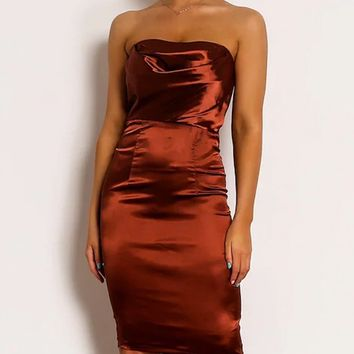 One More Night Satin Strapless Draped Sweetheart Neck Bodycon Midi Dress - 3 Colors Available
