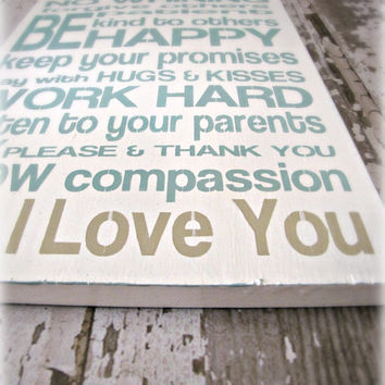 Family Rules Shabby Chic Typography by cellardesigns on Etsy