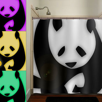 personalized giant bear panda shower curtain bathroom decor fabric kids bath white black custom duvet cover rug mat window