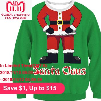 2018 Autumn Winter Women Christmas ugly sweater Santa Tree Snowflake Print Long Sleeve Sweater Xmas Pullovers female tunics Tops