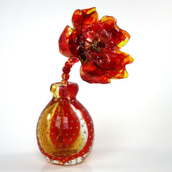 Amber Red, Orange, Gold Murano Flower  Vase, Home Decor, amberina Chihuly crackle, Perfume Bottle, bubble glass, sunset, arrangement