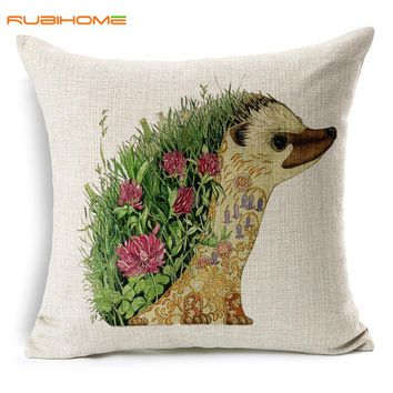RUBIHOME Fashion Lovely Animal Chicken Hedgehog  Decorative Cushion Cover Throw Pillowcase Polyester Fabric Home Decor Sofa