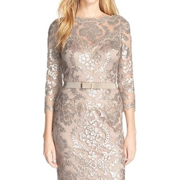 Women's Tadashi Shoji Embroidered Lace Belted Dress,