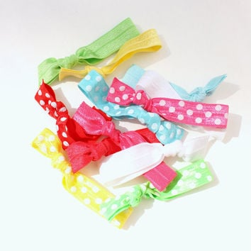 12 Ponytail Holder Hair Ties - Polka Dot Hair Tie Grab Bag - Girl's Birthday Gift Idea - Easter Hair Tie Bracelets - Soft Hair Elastics