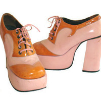 Authentic Vintage 1970s Pink and Orange Platform Disco Shoes Size 7