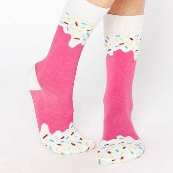 Pink Ice Cream Ice Pop Socks