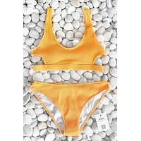 Fashion Women U Collar Hollow Yellow Feather Yarn Bikini Set I