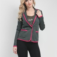 G2 Chic Striped Knit Pocket Blazer