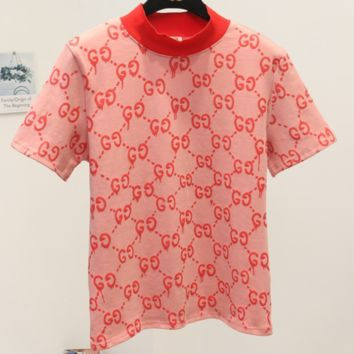 GUCCI 2018 spring new thin double G letter printed short-sleeved T-shirt F0241-1 pink