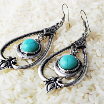 Ethnic Tibetan turquoise earrings