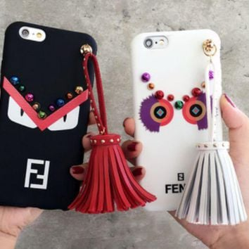 Fendi popular logo little devil little monster iPhone X mobile phone shell iPhone8 silicone full pack protective cover