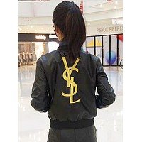 YSL Trending Women Zipper Embroidery Leather Long Sleeve Cardigan Jacket Coat