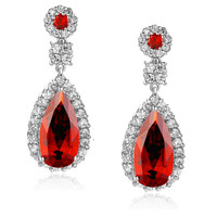Red Teardrop and Clear Round Cubic Zirconia Halo Earrings
