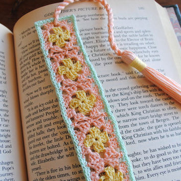 Crochet bookmark with a long tassel, peach, pale yellow, and light green, spring, easter