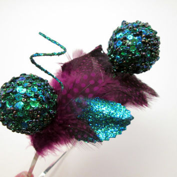 Peacock Purple and Turquoise Tiara Headband - Mardi Gras - steampunk wedding headpiece - fireworks - Valentine's Day