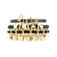 FAUX LEATHER & SUEDE STUDDED BRACELETS - 4 PACK