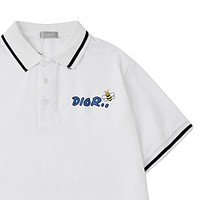 Dior Tide brand men's lapel embroidered bee POLO shirt short-sleeved T-shirt white