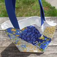 Blue and Yellow Patchwork Reversible Large Lunch Bag, Project bag