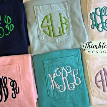 Monogrammed Pocket Shirt - Personalized Shirt- Monogrammed Pocket Shirt-Monogram Shirt with Pocket- Monogram Pocket Tee-Monogram T Shirt