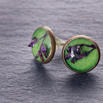 Handmade rustic green stud earrings. One-of-a-kind tiny purple flower earrings. Flowers under glass earrings. Spring gift for her