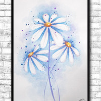 Watercolor Painting Watercolor White Flowers Delicate Daisies Modern Art Print Wall Art Poster Kitchen Wall Decor Flower Print Flower Poster