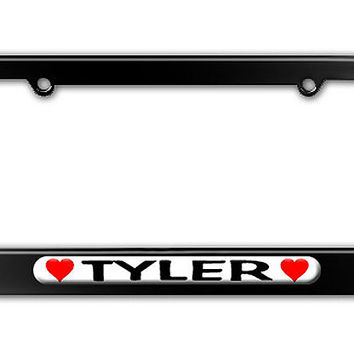 Tyler Love with Hearts Metal License Plate Frame