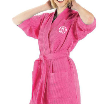 Monogrammed Bathrobe, Personalized Bridamaid Gift, Bridal Party Favor, Hot Pink Monogrammed Waffle Weave Kimono