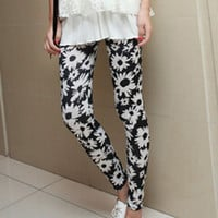 Black Floral Elastic Waist Leggings