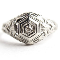 Antique 18K White Gold Diamond  Ring - Art Deco 1920s Engagement  Fine Jewelry /  Ornate Filigree