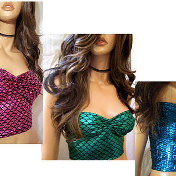 Sexy Mermaid Top, Mermaid Top, Mermaid Costume Top, Fishscale Top, Crop Top, Tank Top, Sexy Blouse, Mermaid Crop Top, Party Halloween Top