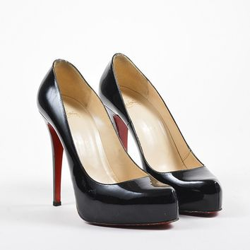 PEAP Christian Louboutin Black Patent Leather   Rolando   Stiletto Platform Pumps